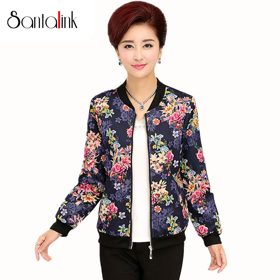 Santalink Autumn Middle aged Women Floral Print Coat ...