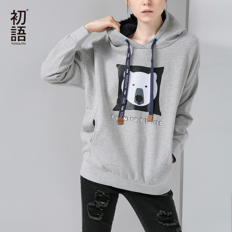 Toyouth Women Hoodies Sweatshirts 2019 Autumn Cartoon Printed Long Sleeve Pullover Hooded Tracksuits Casual Moletom Feminino