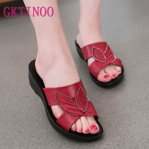 Image 1 - GKTINOO Women Slippers Shoes Genuine Leather Casual Slides Women Summer Shoes Retro Solid Mother Shoes Wedges Flip Flops