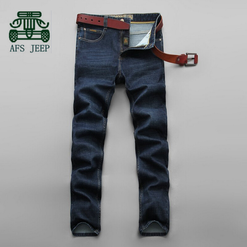 AFS JEEP Autumn 2015 New Arrival Original Brand Men s Casual Cotton Straight Jeans Dark Blue