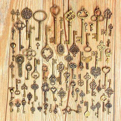 Large Skeleton Key Antique Bronze Vintage Old Look Wedding Decor Set Of 70 Keys  Home Decor