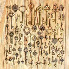 70 unids/set de llaves de esqueleto de bronce de aspecto antiguo Vintage, regalo de regalo, lazo de corazón de lujo para suministros de decoración para fiestas