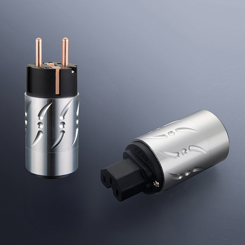 Free shipping One pair Viborg VE502&VF502 Pure Copper HIFI EU Power Plug+IEC Female Connector free shipping pair viborg pure copper gold plated eu schuko power plug iec connector jack for diy hifi electrical pow