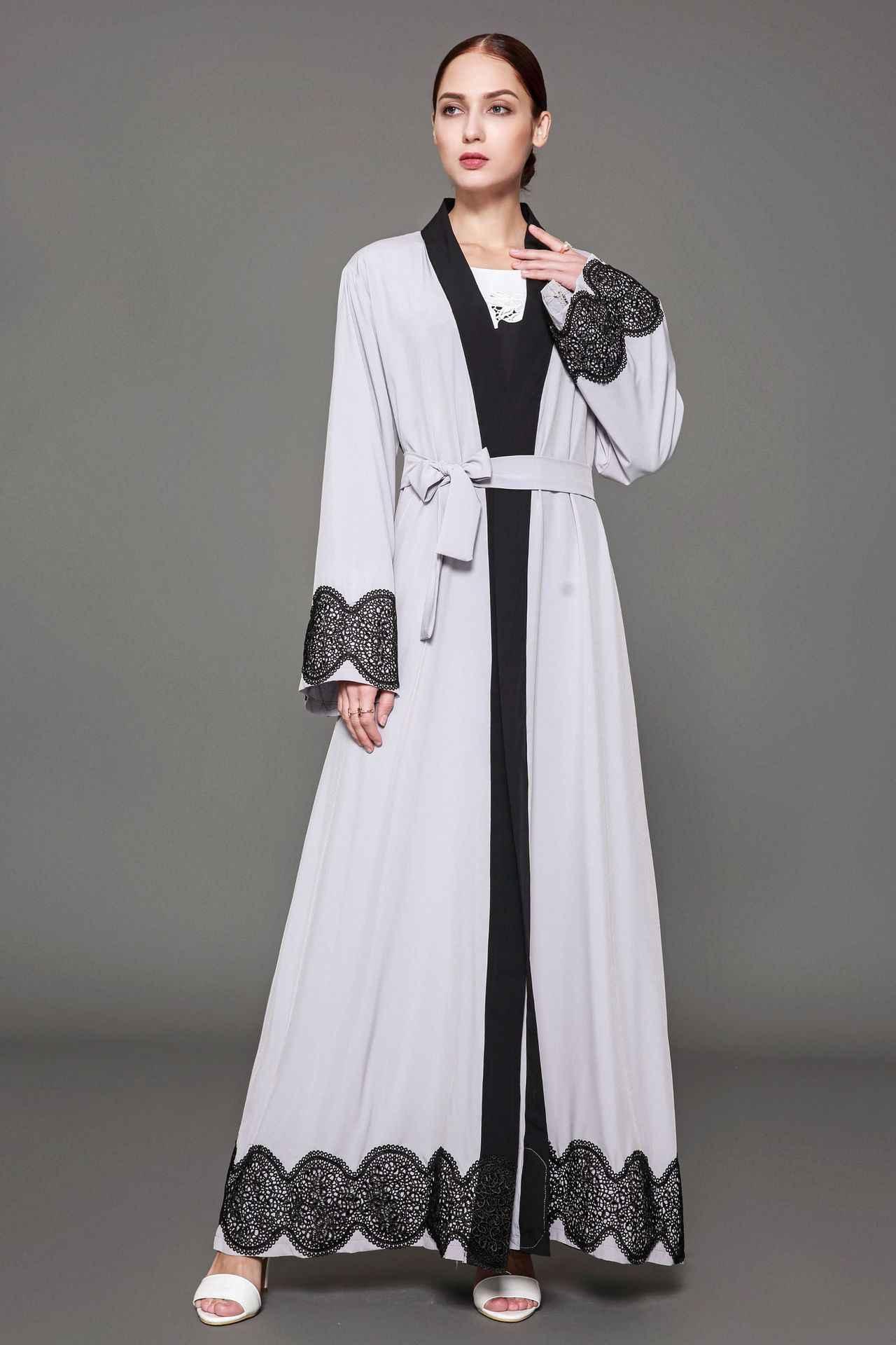 Рамадан взрослых лоскутное отсутствие Серый кардиган с поясом Дубай мода мусульманская верхняя одежда Платье Халаты арабский поклонение услуги