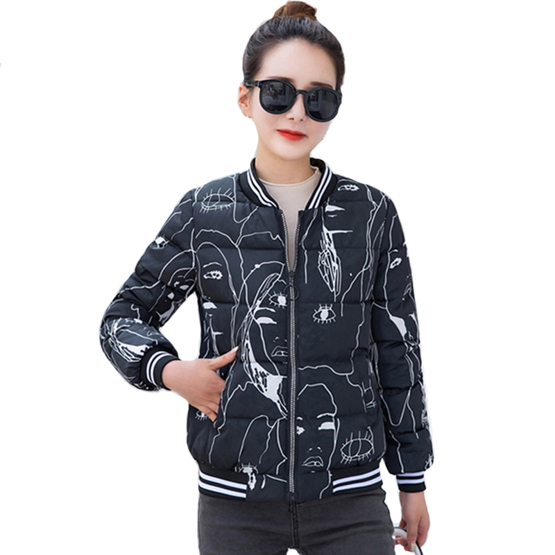 2019 New Design Women Winter   Jacket   Printing Stand Collar Short Padded Womens Autmn   Basic     Jacket   Outwear Female Coat Veste Femme