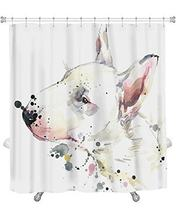 Art Gallery New Shower Curtain Image Of Bull Terrier Dog Tshirt Graphics With Splash Watercolor D Unusual GN17266