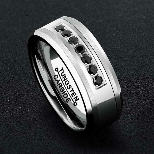 Tungsten Carbide Rings  Black CZ Stones