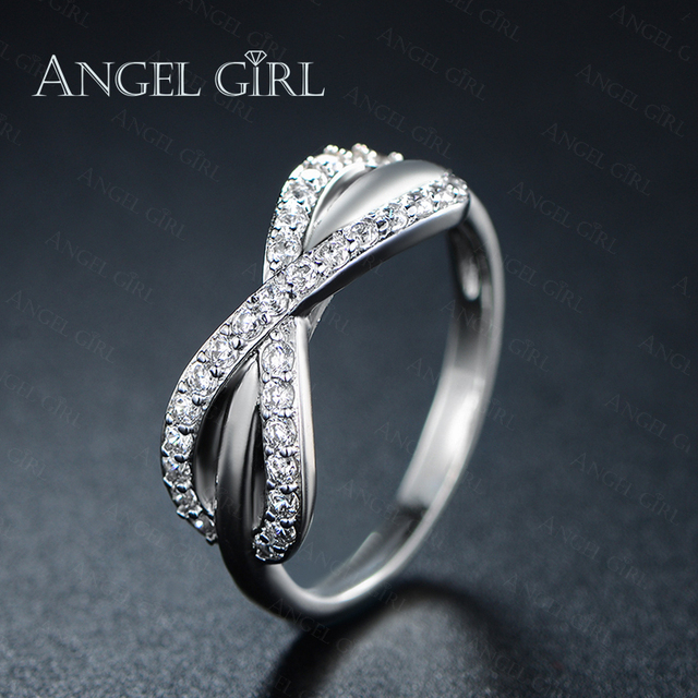 Angel Bowknot Clic Designer Cz Engagement Rings Sets For Women White Gold Color Crystal Wedding