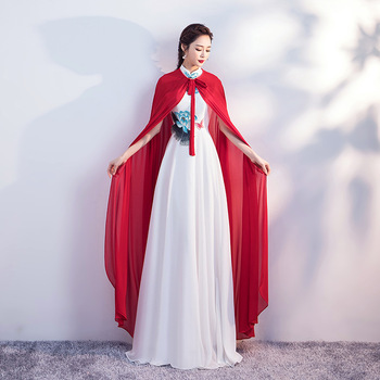 Chinese style improved cheongsam big shawl long Stage Dance Dressing Lotus butterfly embroidery applique evening dress