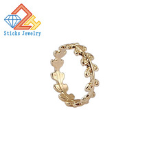 (1 pieces / lot) 100% environmentally friendly zinc alloy material plated k gold lady ring