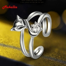 The new original jewelry tide personality double-layer crystal opening ring female models fox ring gift ring prom wedding