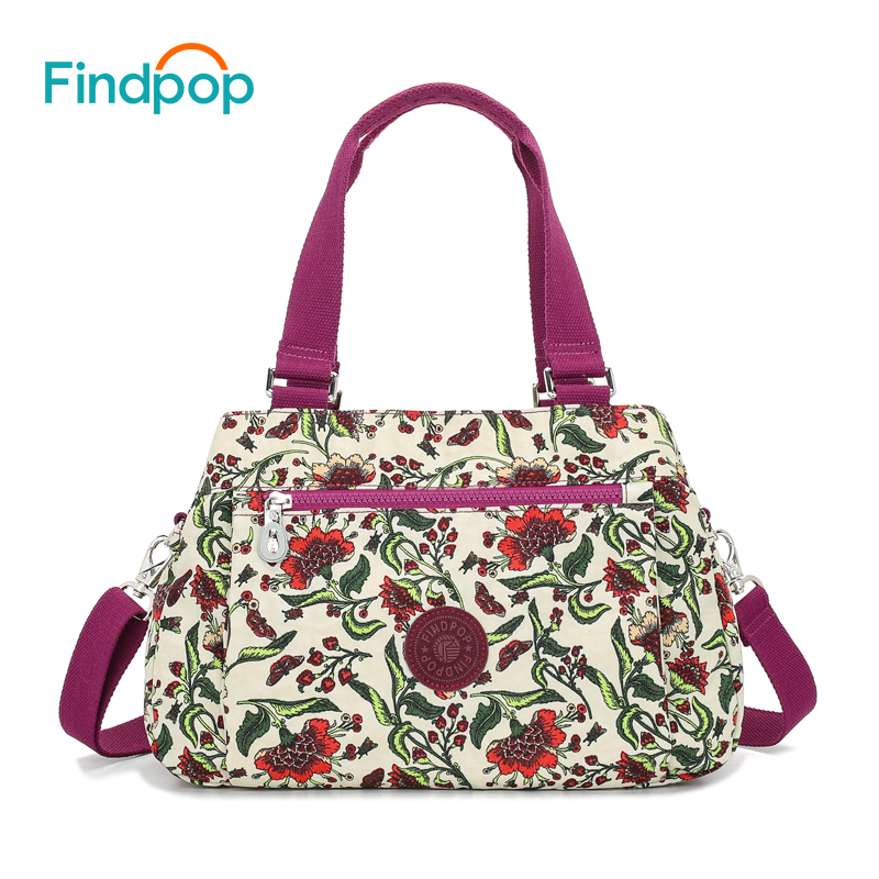 f7be877fb4e8 Findpop Floral Printing Handbags Women Waterproof Nylon Crossbody Bag For  Women 2018 Large Capacity Casual Shell Top Handle Bag-in Top-Handle Bags  from ...