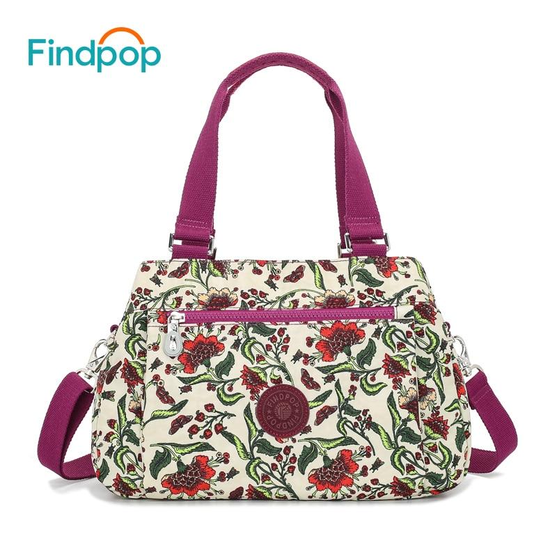 Findpop Floral Printing Handbags Women Waterproof Nylon Crossbody Bag For Women 2018 Large Capacity Casual Shell Top-Handle Bag