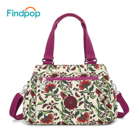 Findpop Floral Printing Handbags Women Waterproof Nylon Crossbody Bag For Women 2018 Large Capacity Casual Shell Top Handle Bag
