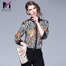 Elegant Women Turn Down Collar Long Sleeve Fashion Runway Leopard Print Blouse Spring Autumn Ladies Workwear Office Shirt Tops