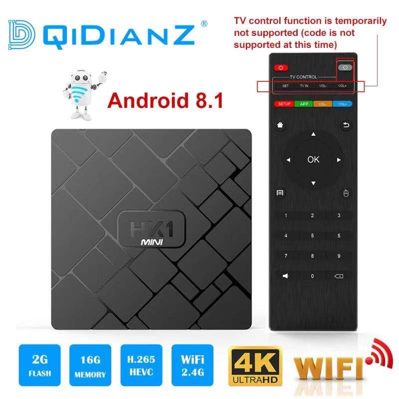 Nuevo HK1 mini Android 8,1 2 GB + 16 GB caja de televisión inteligente RK3229 Quad-Core inalámbrico medios WIFI 2,4G 4 K 3D HK1mini Netflix Set-Top Box