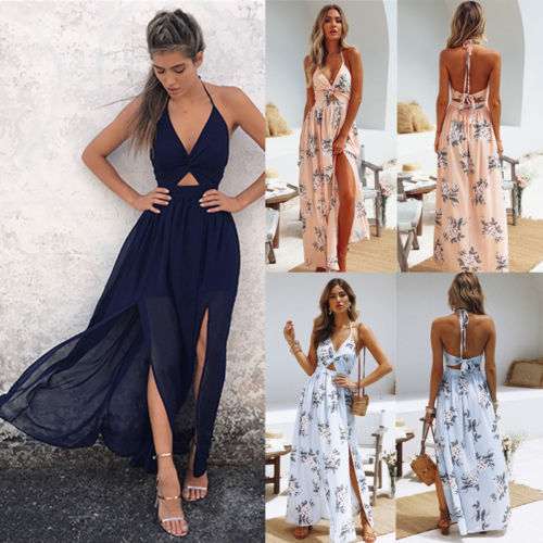 Boho Women Summer Halter Maxi Long Dress 2018 New Floral High Split Pleated Party Beach Holiday Dress Floral Sundress S-xl Cheapest Price From Our Site Dresses