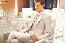 Custom Made One Button Groom Tuxedos Best man Groomsman Men Wedding Party Business Suits Bridegroom(Jacket+Pants+Tie+vest)