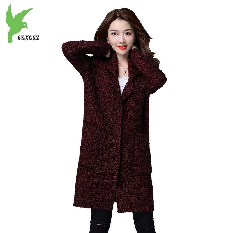 New Autumn Winter Women Knit Sweater Cardigan Fashion Boutique Thick Medium Length Casual Costume Plus Size Slim Coat OKXGNZ 817 charter club new blue sky women s medium m cable knit crewneck sweater $59 359