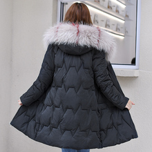 купить 2019 New Fashion Winter Jacket Women Hooded with Fur Collar Plus Size 3XL Cotton Padded Female Long Parka Womens Coats Winter дешево