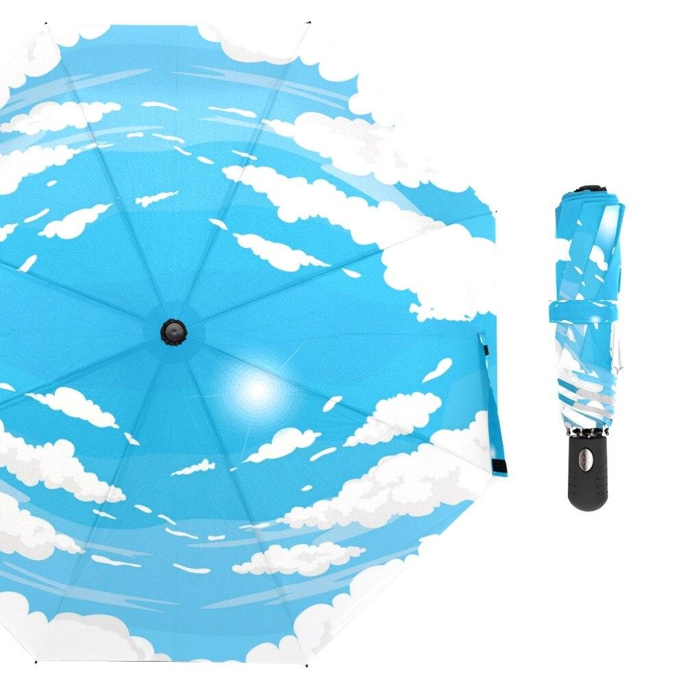 Susino forme nuage bleu ciel coupe-vent parapluie entièrement automatique ouvert métal pongé Compact Auto ouvrir fermer trois parapluies pliants
