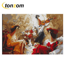 RIHE Music Teatime Diy Painting By Numbers Abstract Oil Painting Cuadros Decoracion Acrylic Paint On Canvas Modern Wall Art rihe amused expression diy painting by numbers abstract cute cat oil painting on canvas cuadros decoracion acrylic wall art