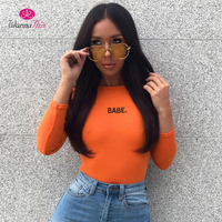 WannaThis BABE Bodysuits Women Long Sleeve O Neck 3 Colors Solid White Black Orange Sexy Letter