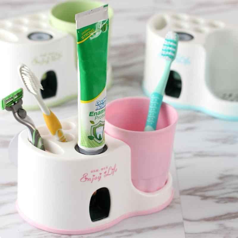 Держатель зубной щетки костюм автоматический выдавливатель для зубной пасты присоски домашний банный набор Ванная комната настенные полки дома дозатор для зубной пасты