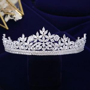 Image 4 - Bavoen Top Quality Brides Royal Sparkling Zircon Tiaras Crown Silver Crystal Hairbands Headpieces Wedding Hair Accessories