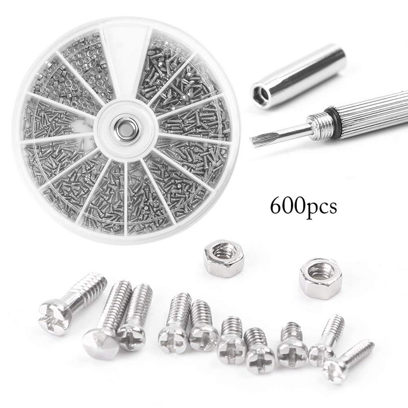 600Pcs Screws Nuts Repair Kits 12 Kinds Stainless Steel Tiny Hex Assortment Kit + Screwdriver For Glasses Sunglass 900pcs stainless steel glasses sunglass clock watch spectacles phone set kit screws nuts screwdriver repair tool screw tweezer