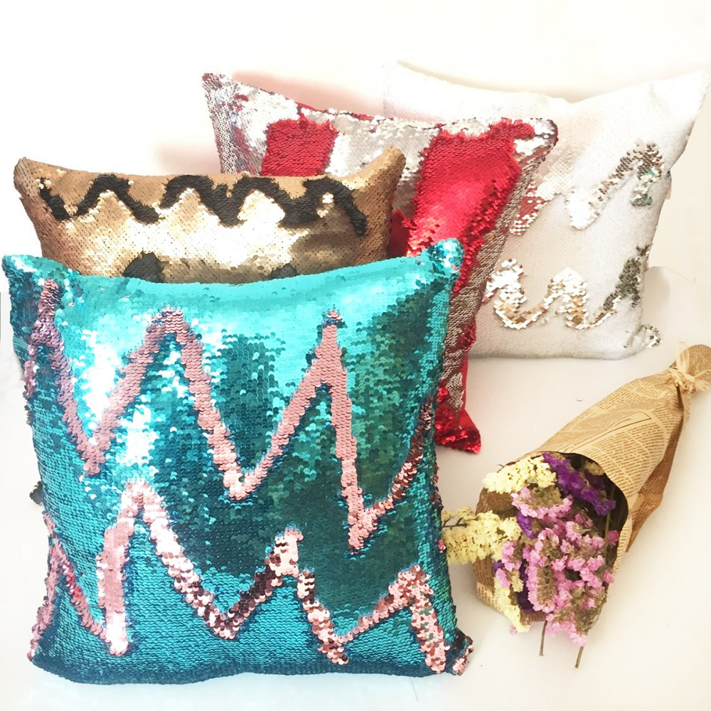 Mermaid Cushion cover Reversible pillow case coussin decoration cojines kussenhoes almofada decorativa DIY Sequin pillow cover phfu coussin housse chaise haute rehausseur nomade siege repas bebe