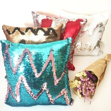 Mermaid Cushion cover Reversible pillow case coussin decoration cojines kussenhoes almofada decorativa DIY Sequin
