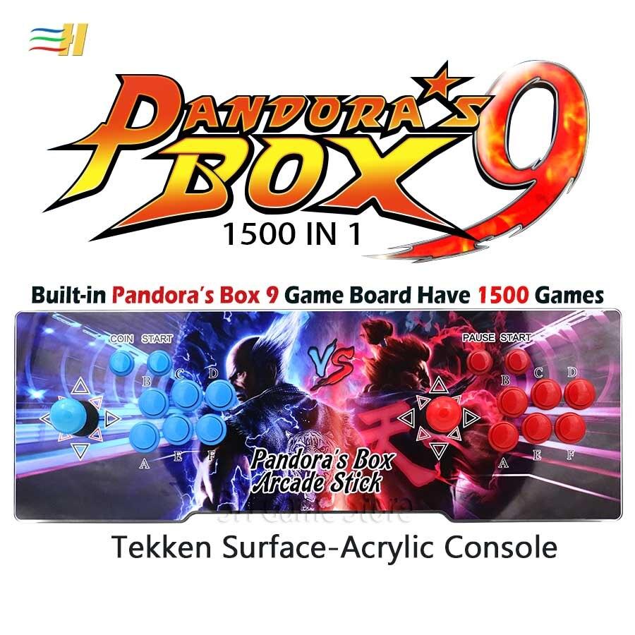 Pandora Box 9 1500 in 1 Arcade Console di Gioco di Superficie Acrilico 2 Giocatori Joystick Bottoni HDMI VGA usb joystick per pc ps3 tv 5 s 6 s