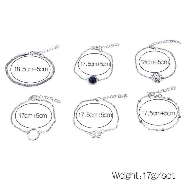 6 Pcs/ Set Retro Female Lotus Bead Round Gem Chain Hollow Multilayer Silver Bracelet Set Exquisite Party Clothing Jewelry 1