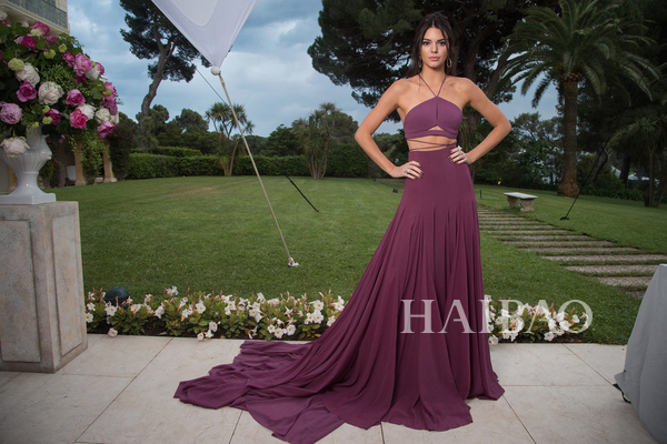 Abendkleider 2018 Sexy Halter Two Piece Prom Long Purple Kendall