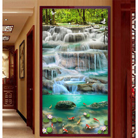 Youran Vertical Chinese Design DIY Diamond Embroidery Waterfall Scenery Painting Living Room Home Entrance Decoration Mosaic Kit