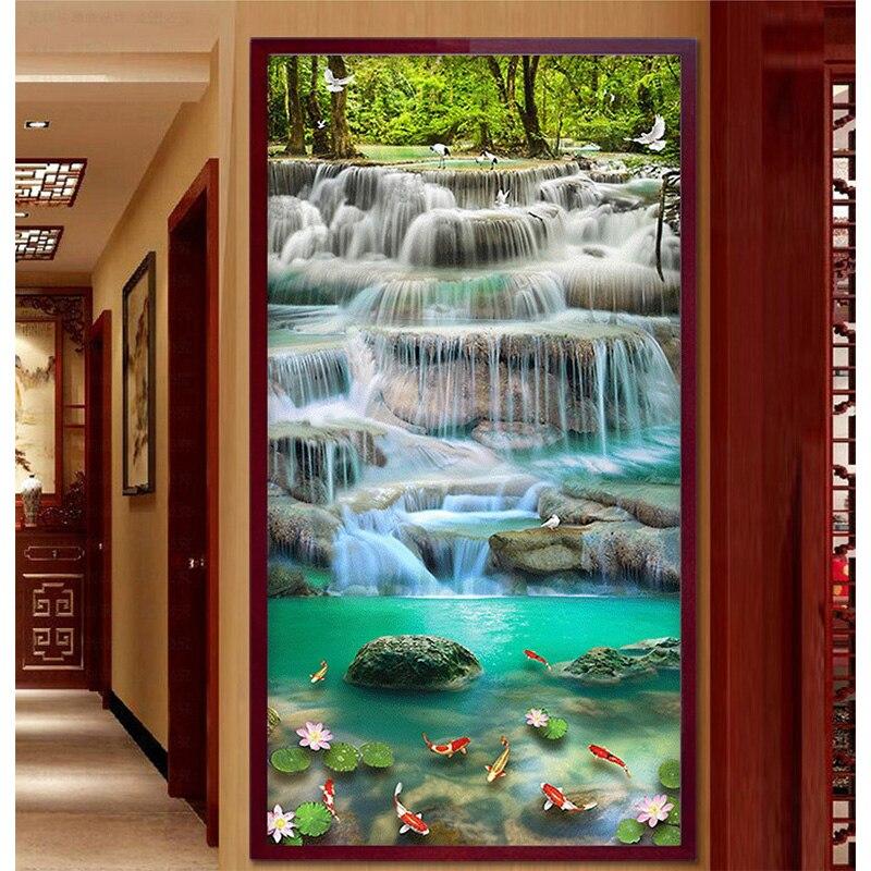 Youran pionowe chiński projekt DIY diament haft wodospad obraz scenerii salonu wejście do domu dekoracji mozaika zestaw w Diamentowy obraz ścieg krzyżykowy od Dom i ogród na  Grupa 1