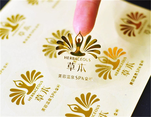 1000pcs customized digital printed gold foil stickers custom vinyl transparent pvc foil gold adhesive labels
