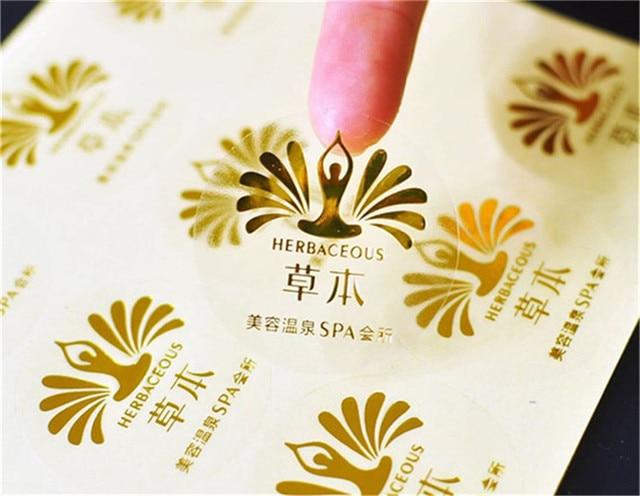 1000pcs customized digital printed gold foil stickers custom vinyl transparent pvc foil gold adhesive labels