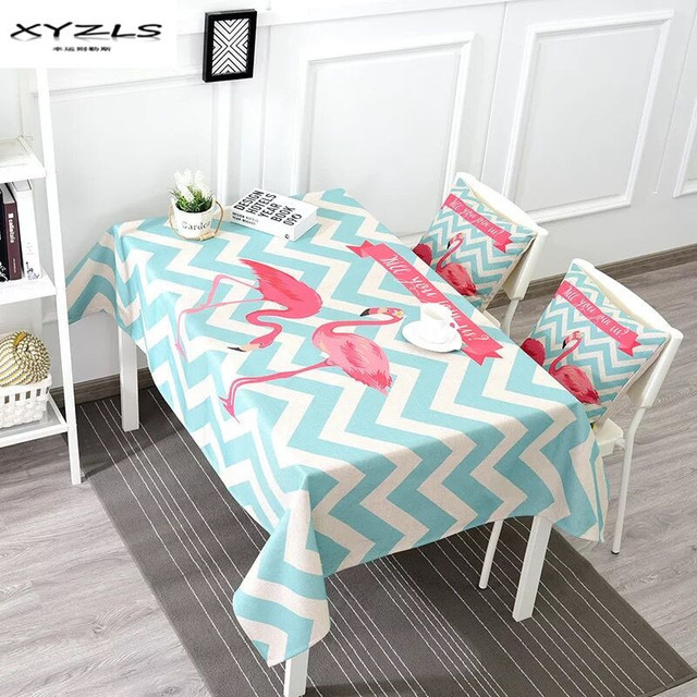 XYZLS American Style Cotton Linen Tablecloth Flamingo Tropical Leaves  Printed Thicken Table Cloth For Dining Table