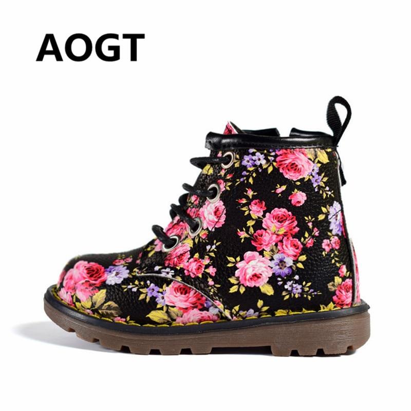 d53707d04fa4 AOGT 2018 Herbst Winter Kinder Mädchen Stiefel Süße Blume Leder Martin  Stiefel Mode Kind Baby Stiefel Marke Mädchen Schuhe gummi Boot