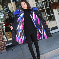 LILIGIRL Family Winter Matching Outfit Clothes Baby Girls Fake Fox Fur Jacket Outwear Mother and Daughter Christmas Jackets Coat