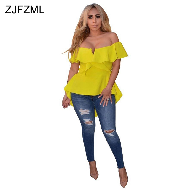 ZJFZML Off The Shoulder Sexy Front Short Back Long Top Women Slash Neck Ruffles Split Shirt Summer Short Sleeve Back Zipper Tee
