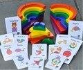 Rainbow juguete de madera Bloques de Bebé Círculo Redondo Ladrillos de Aprendizaje de juguetes Educativos