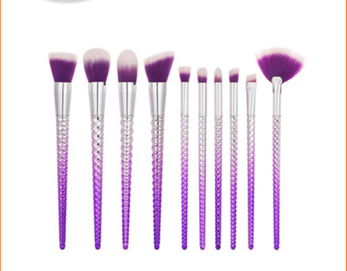 2017 New 10pcs/set Mermaid Color Make Up Eyebrow Eyeliner Blush Blending Contour Foundation Cosmetic Beauty Makeup Brush Tools foeonco 10pcs pink hair mermaid makeup brushes eyebrow eyeliner blush blending contour foundation cosmetic make up fish brush