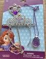 2016 NUEVOS accesorios para el cabello princesa sofia (corona + varita mágica + collar) muchacha de los niños kids partido cosplay de dibujos animados regalo headwear m3