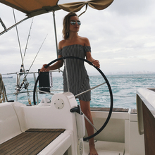 Kinyobi Strapless Maxi Boho Dress Women Summer Beach Dress Mini Checkered Vestidos Irregular Bandage Dresses 2018 New Arrivals