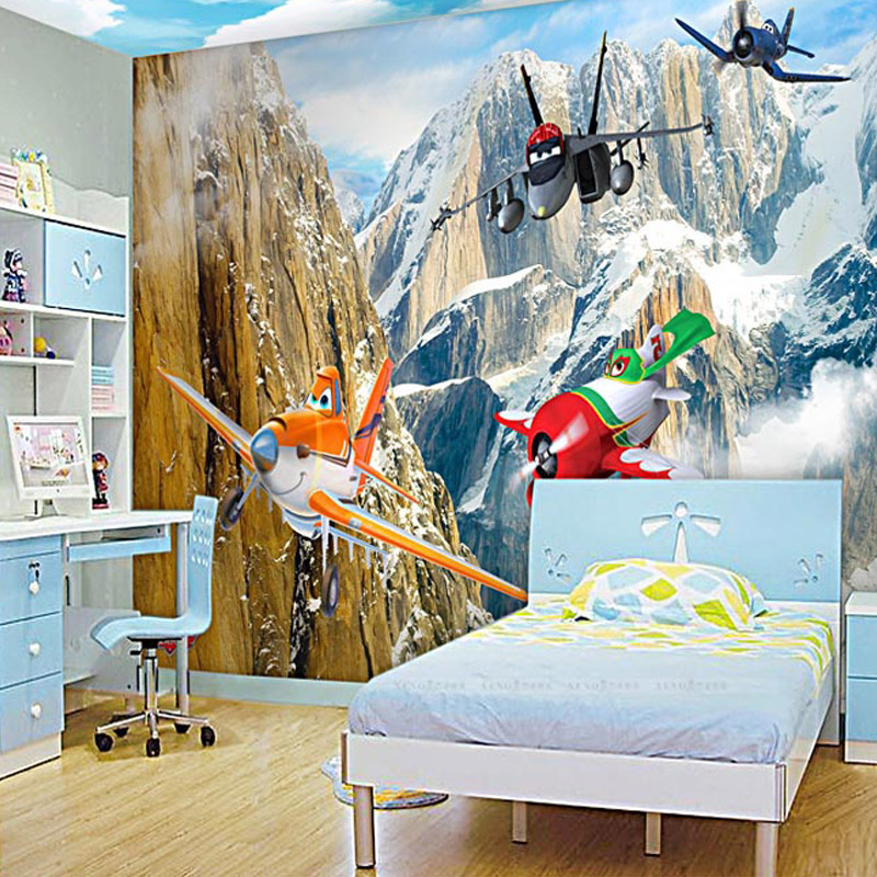 Photo Wallpaper 3D Stereo Cartoon Aircraft Snow Mountain 3D Wall Mural Kid's Room Living Room Creative Decor Wall Paper Fresco