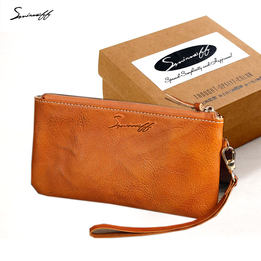 SMIRNOFF Luxury Brand Women Iphone 6 Case Wallet Ladies Slim Vegetable Tanned Leather Thin Wallet Female Phone Purse Women smirnoff slim genuine leather wallet case hand made custom name hasp simple style mens wallet super thin card purse mini wallet