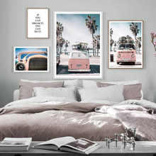 Seascape Painting Poster Nordic Beach Wall Art Canvas Pink Picture Sea Printed Car Posters For Living Room Unframed